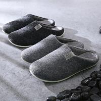 男士棉拖鞋冬季室内防滑低包跟厚底情侣居家居日式地板家用拖鞋男