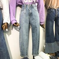 韩国ulzzang2018春装新款修身显瘦直筒长裤女百搭蓝色高腰牛仔裤
