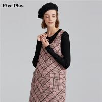 Five Plus女装格子无袖连衣裙女羊毛呢短裙V领背心裙子复古