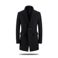 秋冬季男士毛呢大衣中长款西装领加厚韩版修身羊毛外套加棉风衣潮