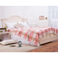 纯棉毛巾被双人加厚纱布空调毯 夏季单人午睡毯毛巾毯盖毯 粉红色 粉格
