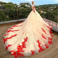 一字肩婚纱礼服2018新款新娘结婚拖尾梦幻公主香槟色长袖 香槟色