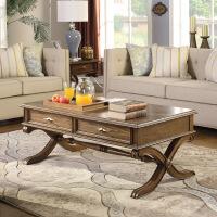 【1件3折 领券】美式古典实木茶几沙发茶几 长方形客厅小桌子小户型家具