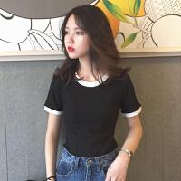 春夏女装韩版个性撞色修身显瘦短袖T恤百搭短款打底衫上衣体恤潮