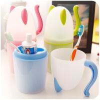 日式家用牙缸猫咪情侣塑料漱口杯子儿童学生宿舍带盖牙刷架洗漱杯