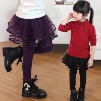 女童裤裙春秋装春款时尚弹力裙裤小女孩打底裤蕾丝假两件