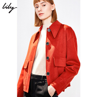 Lily2019冬新款女装羊绒工装感纯色宽松箱型短款开襟毛呢外套3965