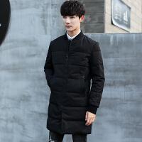 冬季羽绒服男士中长款潮流韩版修身棒球领白鸭绒青年加厚男装外套 黑色