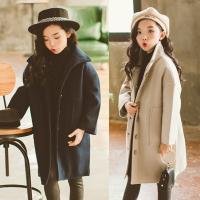 亲子装冬装母女外套韩版童装女童夹棉加厚棉衣中大童中长款呢大衣