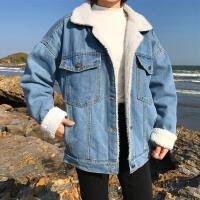 韩观2018秋冬装韩版BF风学生羊羔毛短款牛仔外套女加厚加绒棉衣潮 浅蓝色 优质加绒加厚