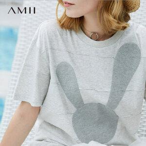 【会员节! 每满100减50】Amii极简港味ins原宿T恤女2018夏季新款童趣兔子贴布条纹全棉上衣