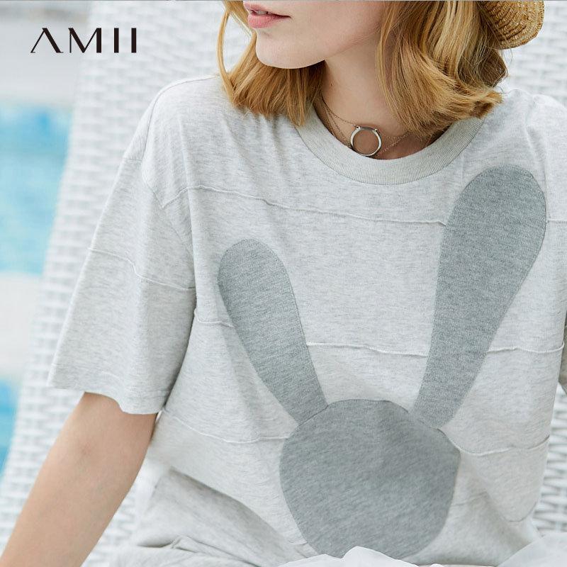 【大牌清仓 5折起】Amii极简港味ins原宿T恤女2018夏季新款童趣兔子贴布条纹全棉上衣预售7月30日发货