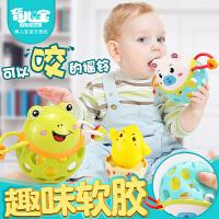 儿童牙胶摇铃女宝宝能咬手摇铃1岁2-3-6玩具5个月8-9男小孩子八7