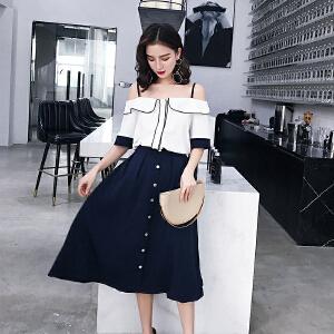 RANJU然聚 2018夏季女装新品新款chic时尚吊带衬衫棉麻A字半身裙两件套
