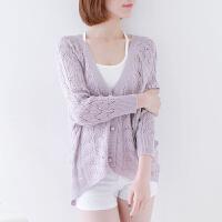透气蝙蝠衫空调衫女开衫纯色前短后长薄款针织外套镂空防晒衣潮