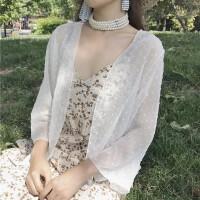 2018夏季新款宽松长袖透视点点雪纺衫开衫短款防晒衣衬衫上衣女装