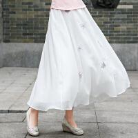 春季新款女装文艺复古修身雪纺蝴蝶绣花百搭半身裙中长裙