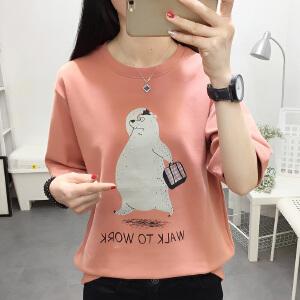 AGECENTRE 2018夏季新款韩版休闲减龄卡通印花磨毛加厚宽松短袖T恤
