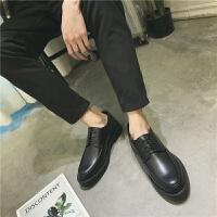 休闲皮鞋男韩版青年英伦百搭2018新款冬季系带潮流男鞋子青年板鞋