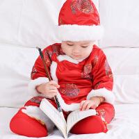 男宝宝唐装冬装喜庆拜年服婴儿百天周岁抓周加绒中国风新年服