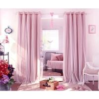 窗帘纯色公主房蕾丝双层纱窗帘全遮光客厅卧室飘窗定制