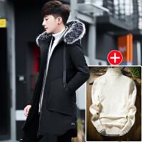棉衣男中长款韩版修身连帽加厚潮流帅气男士外套冬季2017新款