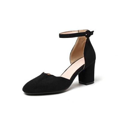 ELEISE美国艾蕾莎新品020-A50-1甜美磨绒高跟粗跟中空女士凉鞋