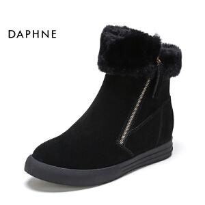 达芙妮集团鞋柜专柜正品冬季休闲反毛皮侧拉链女靴-1