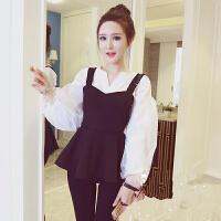 韩观春装新款韩版气质收腰裙摆吊带上衣+欧根纱灯笼袖白衬衫女两件套SN882 白色