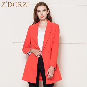 zdorzi卓多姿秋装新款通勤韩版纯色中长西装长袖外套女632695