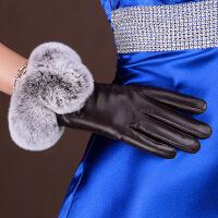 真皮手套女冬兔毛新款冬季保暖獭兔毛绒里开车羊皮手套