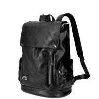 双肩包男翻盖背包运动学生书包韩版电脑包休闲包包 黑色