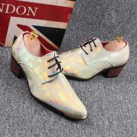 韩版尖头男士高跟皮鞋个性夜店英伦皮鞋发型师休闲皮鞋内增高8cm6