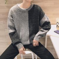 港风秋冬新款拼色撞色毛线衣韩版青少年休闲宽松毛衣男士针织衫潮