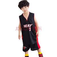热火队儿童篮球服wade韦德3号球衣套装背心短裤宝宝篮球服运动套装 黑色 S