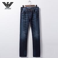 正品Armani阿玛尼 男装牛仔长裤 原色牛仔蓝抓痕处理休闲牛仔裤 V6J10 6R