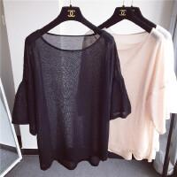 冰丝上衣女2018韩版新款针织衫薄款纯色夏季短袖宽松泡泡袖外套潮