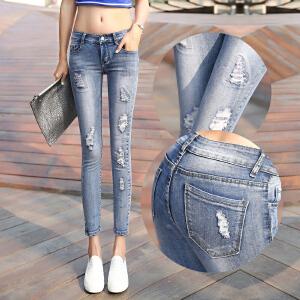 春款韩版牛仔裤女破洞弹力九分学生小脚裤修身显瘦铅笔裤