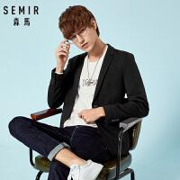 森马西服男年轻秋季新款修身纯色外套男士商务青年休闲时尚上衣