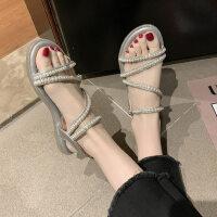 户外串珠凉鞋韩版时尚单鞋休闲罗马鞋百搭平底女鞋