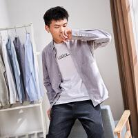 [2.5折价68.9元]唐狮秋季长袖衬衫男青少年纯色牛津纺白衬衣修身打底