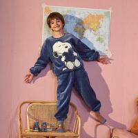 [直降]史努比儿童睡衣唐狮秋冬季新款男童家居服套装法兰绒宝宝睡衣