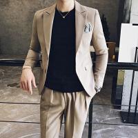 秋季男士西服套装男韩版修身纯色两件套青年学生商务装正装潮衣服