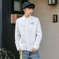 衣柜男装日系新款卡通小猫刺绣圆领男士休闲长袖衬衫青年衬衣