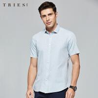 才子男装tries格子短袖衬衫男士夏季新款修身商务休闲正装薄款透气衬衣