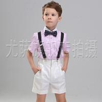儿童礼服男童短袖背带套装春六一儿童演出服花童礼服男童西装套装