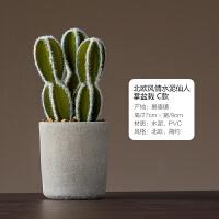 【好物】北欧创意仿真仙人掌盆栽客厅阳台桌面水泥花盆小盆栽装饰品摆设