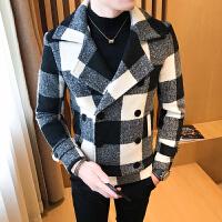 冬季潮流小清新短款毛呢大衣男韩版青少年简约百搭双排扣呢子外套 黑白 M