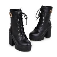 秋冬女鞋高跟圆头粗跟厚底英伦风潮短筒马丁靴系带靴子女短靴