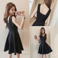 2018夏季新款女装韩版修身显瘦V领无袖背心连衣裙a字裙赫本小黑裙 黑色